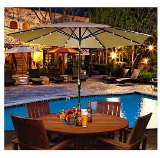 Outsunny 2.7M Garden Umbrella Outdoor Parasol With Hand Crank W/ 24 Leds Lights (Red Or Brown)