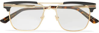 Gucci Endura Square-Frame Gold-Tone And Acetate Optical Glasses