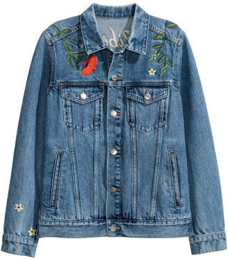 H&M Embroidered Denim Jacket - Blue