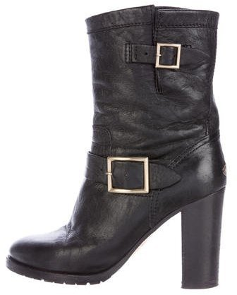 Jimmy Choo Jimmy Choo Leather Buckle-Accented Ankle Boots
