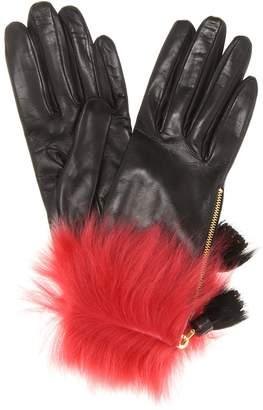 Prada Fur-trimmed leather gloves