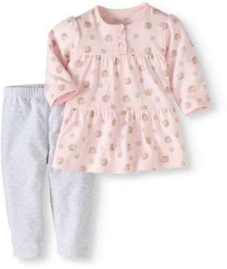 Rene Rofe Newborn Girl Blouse & Leggings, 2pc Outfit Set
