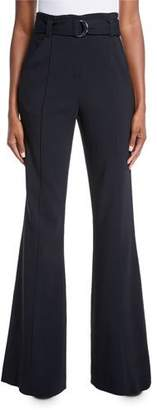 A.L.C. Foster Belted Flare-Leg Crepe Pants