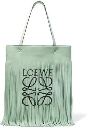 Loewe Paula's Ibiza Fringed Printed Leather Tote - Light green