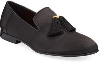 Tallia Men's Satin Tassel Smoking Slippers