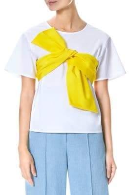 Carolina Herrera Tie-Front Short-Sleeve Blouse