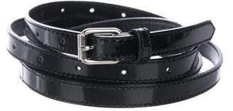 Ann Fontaine Patent Leather Skinny Wrap-Around Belt