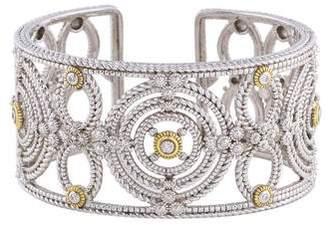 A.V. Max Wide Diamond-Cut Cuff Bracelet, Silvertone