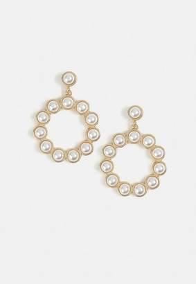 Missguided Cream Pearl Drop Circle Earrings