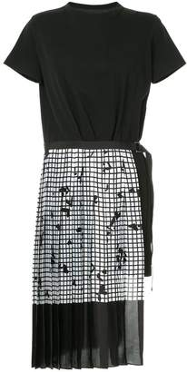 Sacai asymmetric pleated dress