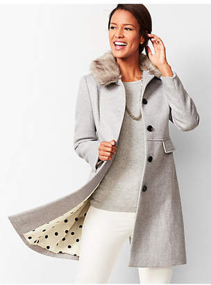 Talbots Faux-Fur-Trim Wool Coat