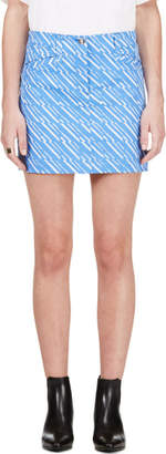 Kenzo Periwinkle and White Denim Skirt
