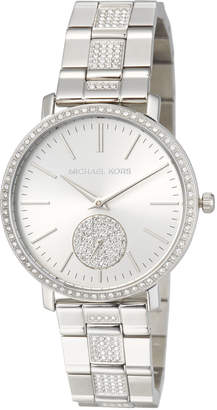 MICHAEL Michael Kors 38mm Jaryn Glitz Chronograph Watch, Silver