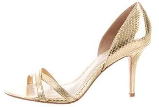 AERIN Cocobay Embossed Leather Sandals