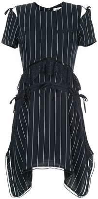Self-Portrait striped lace detail dress