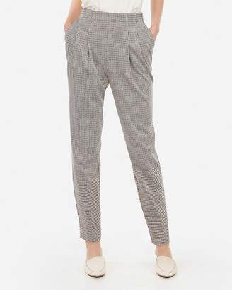 Express Super High Waisted Printed Pull-On Pleated Ankle Pant