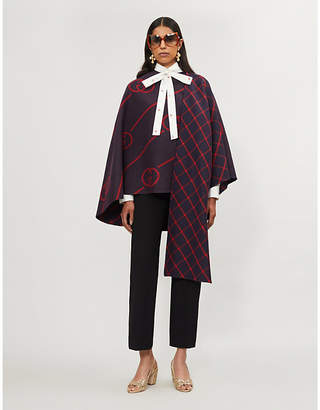 Gucci Logo pattern wool and silk-blend cape