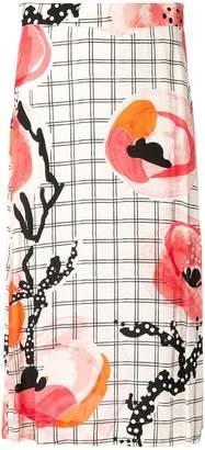 Henrik Vibskov floral check midi skirt