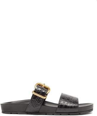 Prada Double Strap Crocodile Embossed Leather Sandals - Womens - Black
