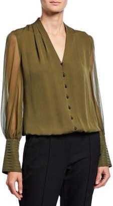 Elie Tahari Skylar V-Neck Button-Front Blouson-Sleeve Silk Blouse