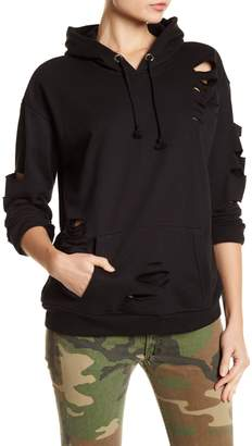 Romeo & Juliet Couture V-Neck Rip Accent Hoodie