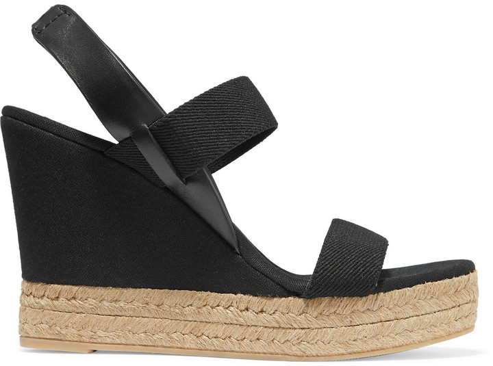Tory BurchTory Burch Canvas and leather wedge sandals