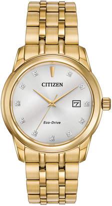 Citizen Men Eco-Drive Diamond Accent Gold-Tone Stainless Steel Bracelet Watch 39mm BM7342-50A