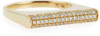 Sydney Evan Pave Diamond Bar Roll Ring, Size 6.5