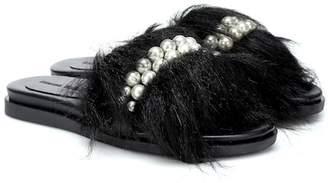Simone Rocha Embellished faux-fur slides