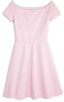 Aqua Girls' Ponte Off-the-Shoulder Skater Dress, Big Kid - 100% Exclusive