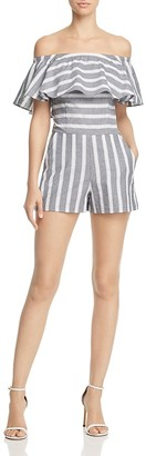 AQUA Striped Flounce Off-the-Shoulder Romper - 100% Exclusive $88 thestylecure.com