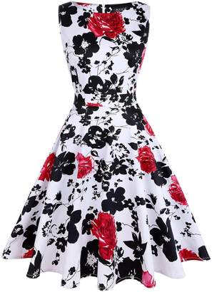 OTEN Women's Cocktail Party Sleeveless Floral 1950s Vintage Tea Dress