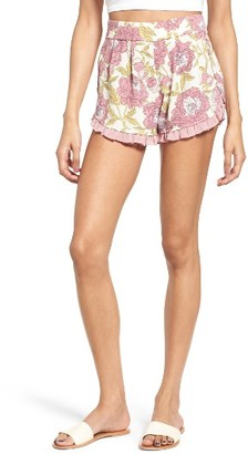Women's Leith Ruffle Trim Floral Shorts $55 thestylecure.com