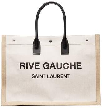 Saint Laurent white and beige Rive Gauche logo canvas bag