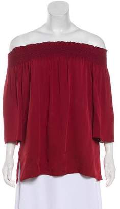Theory Off-The-Shoulder Silk Blouse w/ Tags