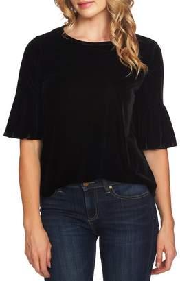 Cynthia Steffe CeCe by Flutter Sleeve Stretch Velvet Blouse (Regular & Plus Size)