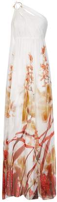 Roberto Cavalli Floral One-Shoulder Gown