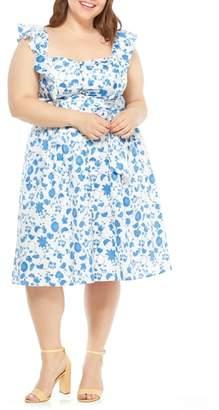 Gal Meets Glam Olivia Floral Wallpaper Print Fit & Flare Dress