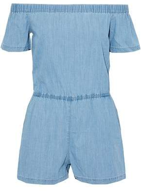 Off-The-Shoulder Chambray Playsuit