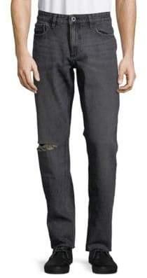 Calvin Klein Distressed Straight Leg Jeans