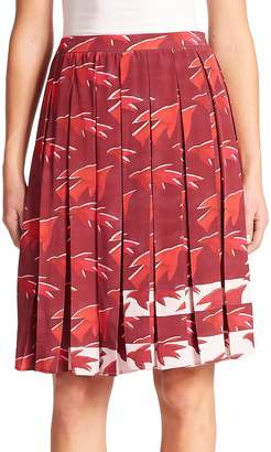 Elle Sasson Women's Celia Sparrow-Print Silk Pleated Skirt