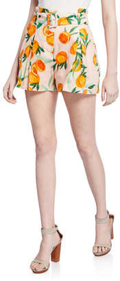 Parker Carlo Orange Print Belted Pleated Shorts