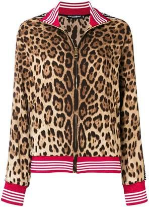 Dolce & Gabbana leopard print logo jacket