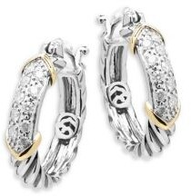Effy Diamond, 14K Yellow Gold and Sterling Silver Hoop Earrings, 0.32 TCW