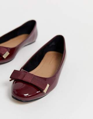Asos Design DESIGN Lexy bow ballet flats in oxblood