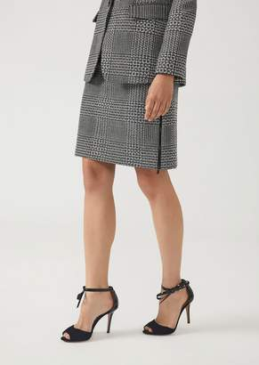 Emporio Armani Flared Skirt In Houndstooth Fabric With Rhinestones