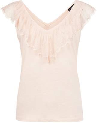 Dorothy Perkins Womens Blush Lace Trim V
