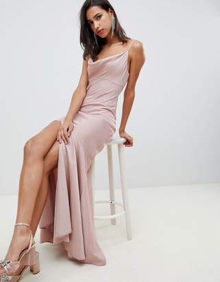 Asos DESIGN bias cut satin slip maxi dress with drape neck