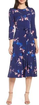 Eliza J Floral Belted Midi Dress