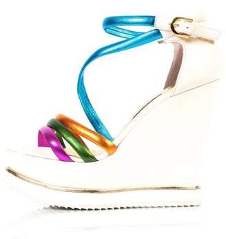 Kim Kwang - Colourful Sporty Wedge Sandals White
